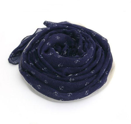 Navy Little Anchor Print Infinity Scarves - lilyby