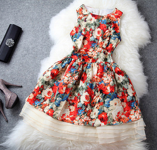 Unique Latest Floral Silk Dress&Party Dress