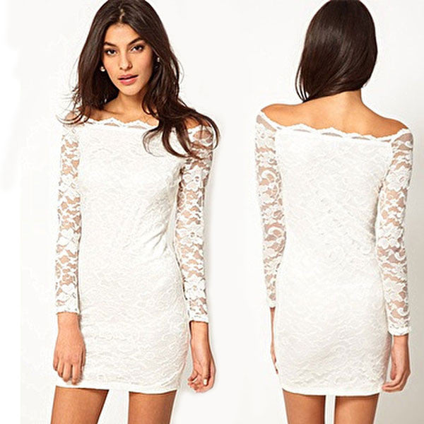 New Strapless Boat Neck Lace Slim Dress&Party Dress - lilyby