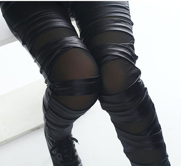 Fashion Straps Mesh Leather Lace Leggings - lilyby