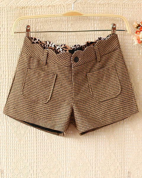 New houndstooth woolen Leopard Printed Shorts - lilyby
