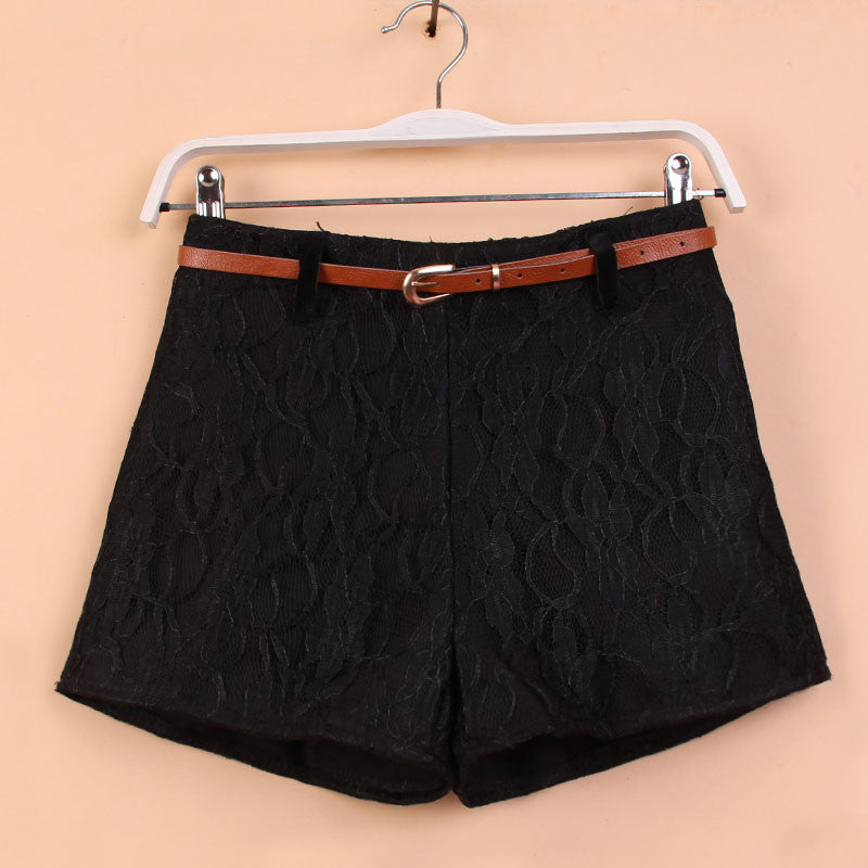Unique Crochet Woolen Shorts With Belt