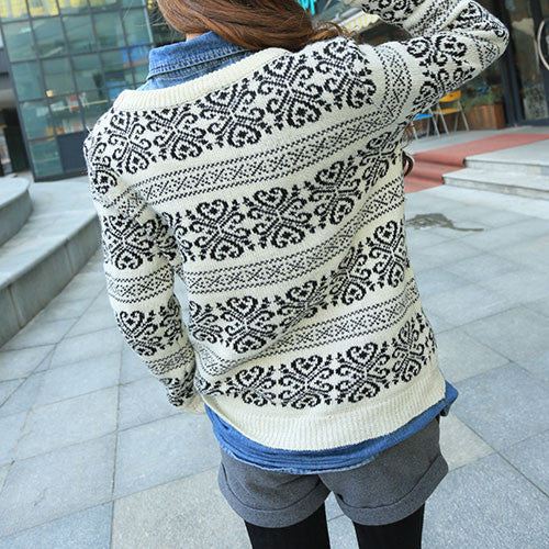 New Christmas Geometry Snowflake Sweater Cardigans - lilyby