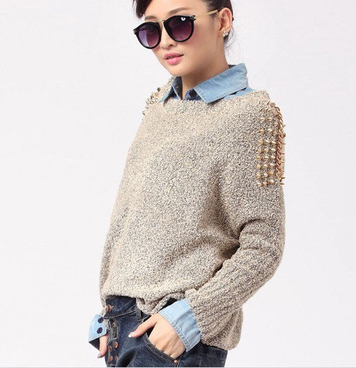 Retro Fashion Rivets Loose Bat Sleeve Sweater&Cardigan - lilyby