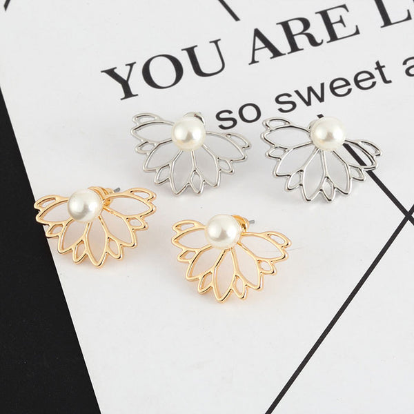 Unique Pearl Lotus Ear Studs Girl's Earring Studs