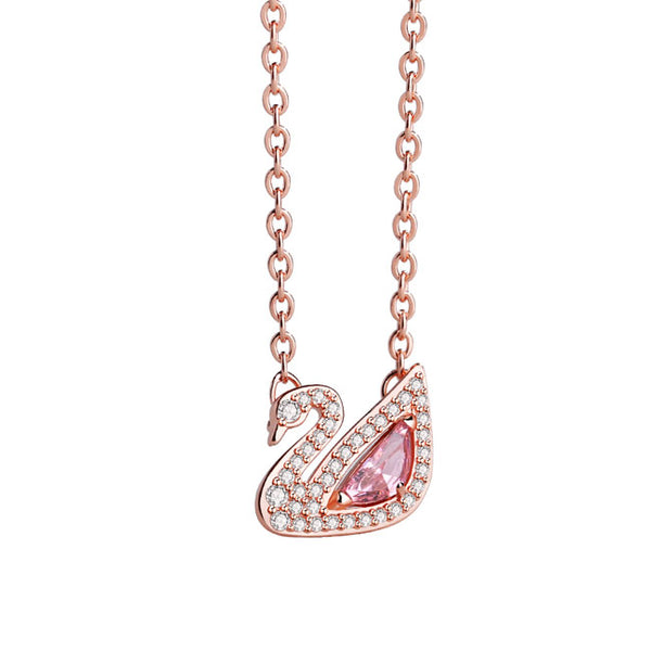 Romantic Rhinestone Pendant Silver Necklace Lover Gift Swan Pink Crystal Women Necklace