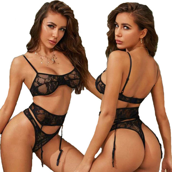 Sexy Perspective Bra Set Underwear Garter Belt Sling Black Lace Women's Lingerie