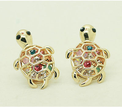 Cute Rhinestone Turtle Animal Earrings - lilyby