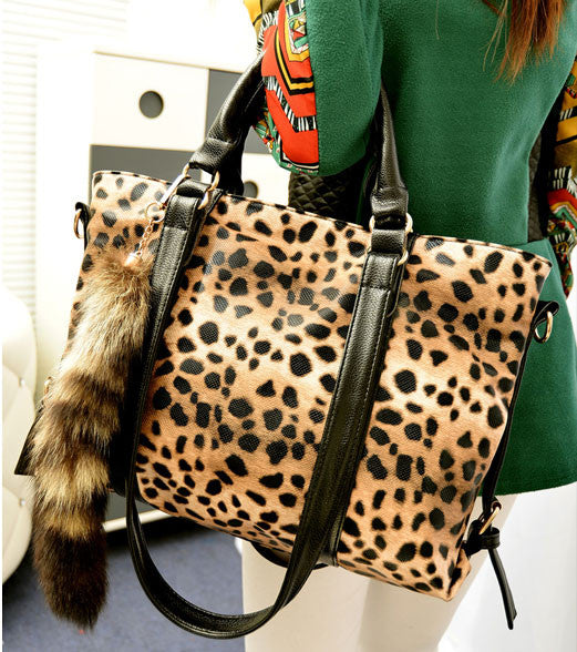 Cheap New Fox Tail Ornaments Leopard Printed Handbag&Shoulder Bag - lilyby