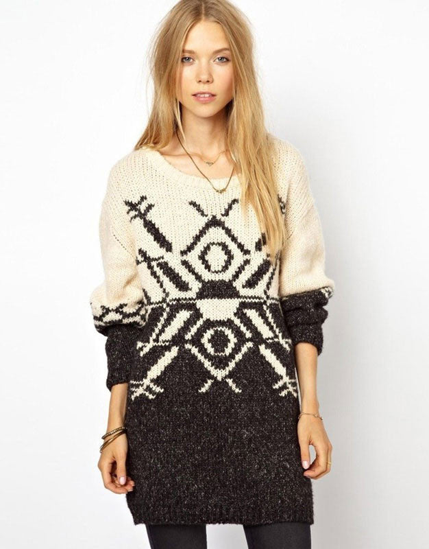 British Fashion Geometric Snow Sweater - lilyby