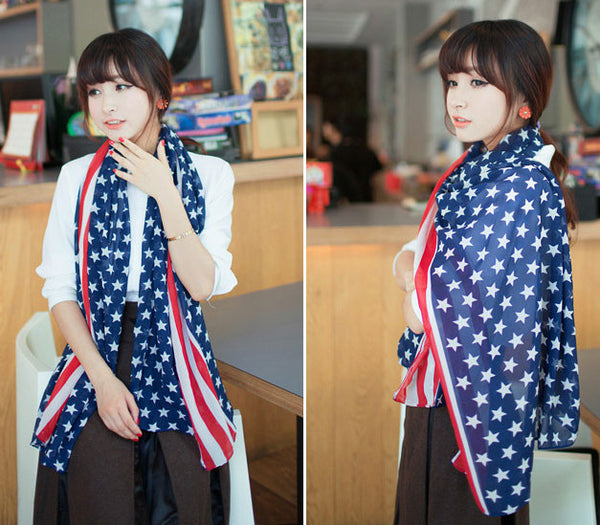 Cheap Unique American Flag  Voile Infinity Scarf - lilyby