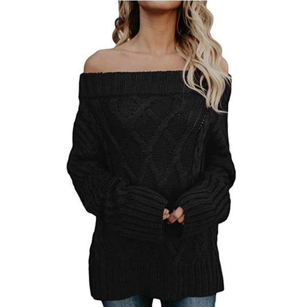 Leisure Loose Knit Long Sleeve Strapless Shoulder Cardigan Women Sweater
