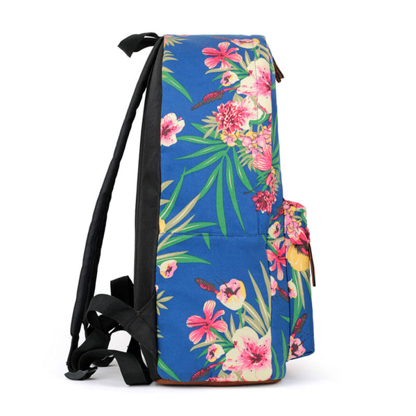 Sapphire Blue Flower Folk Fashion Canvas Backpack - lilyby