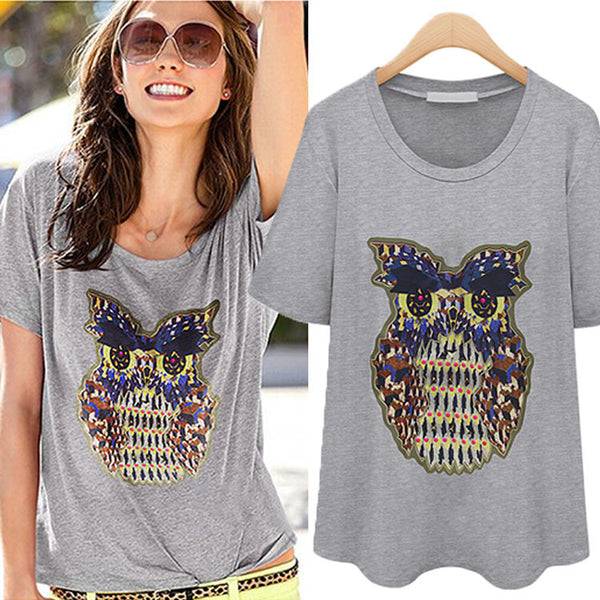 Cheap Adorable Owl Printed Animals Loose T-shirt - lilyby
