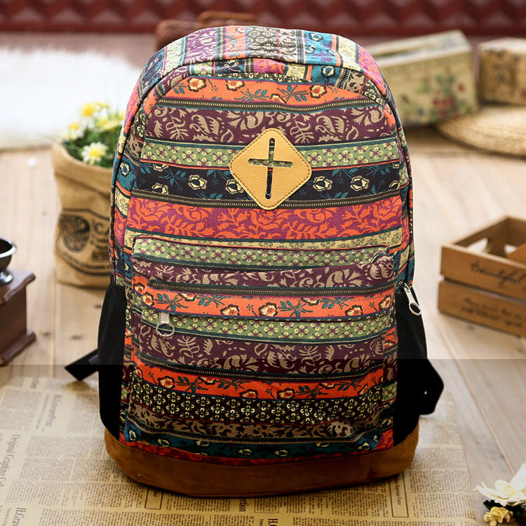 Fashion Folk Geometry Totem Canvas School Backpack - lilyby