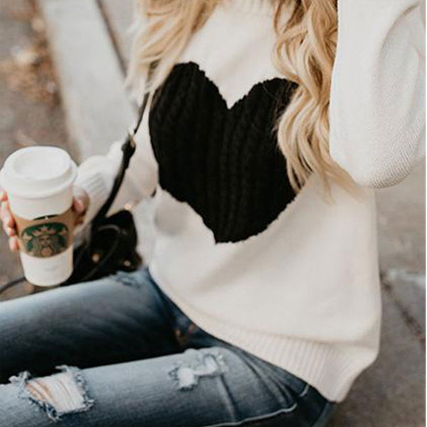 Leisure Romantic Love Heart Knit Long Sleeve Cardigan Women Sweater