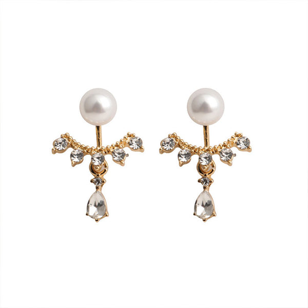 Sweet Water Droplets Pearl Rhinestone Lady Earrings Studs