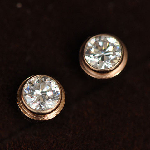 New  Drill 18k Rose Gold Couple Earrings Studs - lilyby