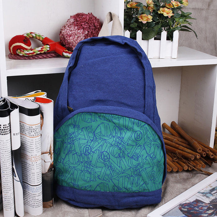 Retro Letters Printed Canvas Backpack - lilyby