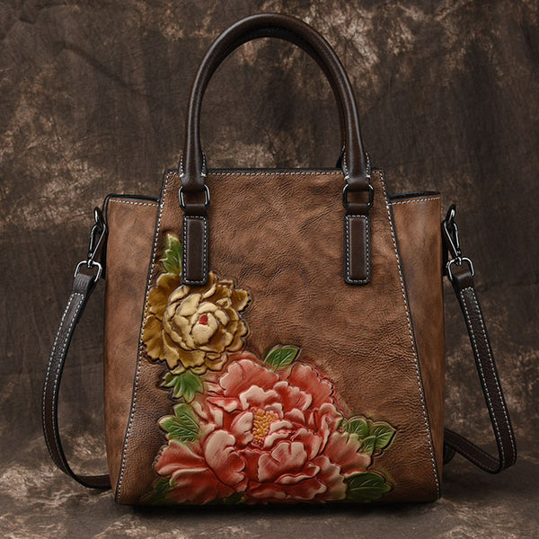 Vintage Handmade 3D Peony Handbag Leisure Flower Leather Shoulder Bag