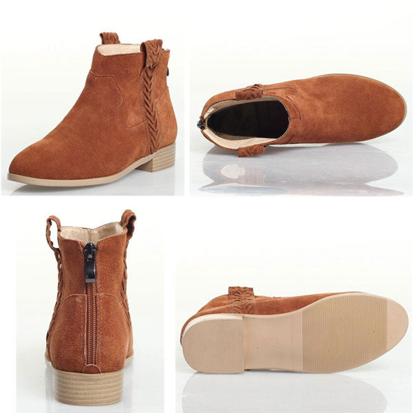Retro Nubuck Leather Back Zipper Martin Boots/Ankle Boots