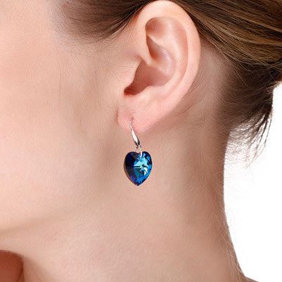 Blue Ocean Heart Crystal 925 Sterling Silver Earrings - lilyby