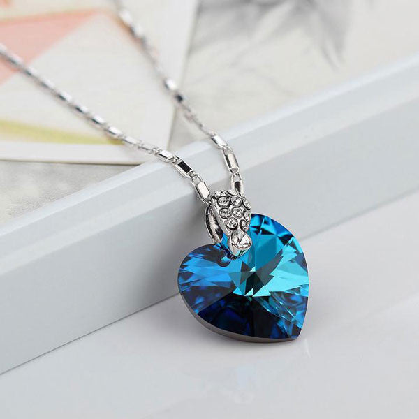 Blue Ocean Heart Crystal 925 Sterling Silver Pendant - lilyby
