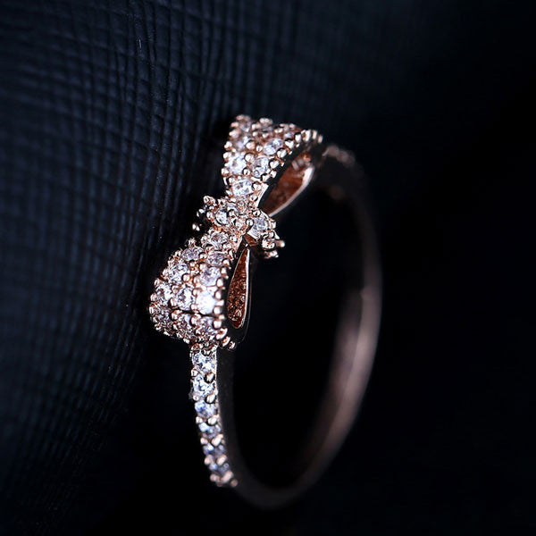 Shiny Crystal Gold Plating Bowknot Ring