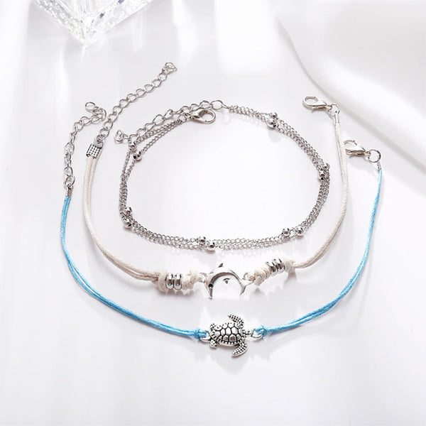 Leisure Tortoise Dolphin Weaving Alloy 3 Piece Set Anklet