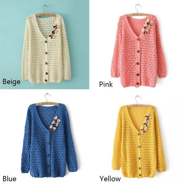 Retro Latest Bowknot Pierced Slim Sweater