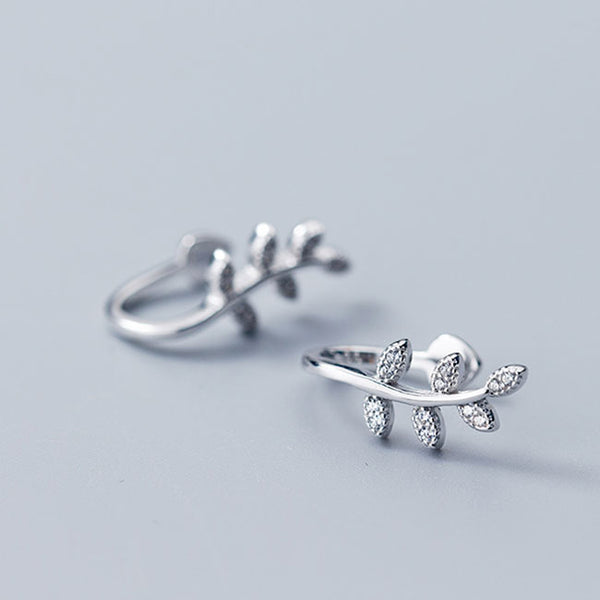Cute Earless Hole Silver Leaves Women Leaf Diamond Earring Clip