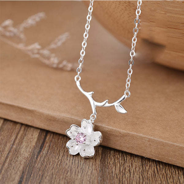 Cute Branch Leaf Flower Cherry Pendant Silver Necklace