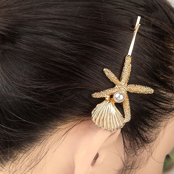 Unique Conch Shell Starfish Pearl Hairpin Clip Hair Accessory