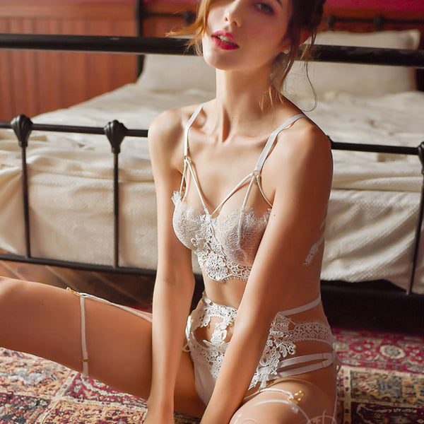 Sexy Garter Open Underwear Sling Bra Set Lady Flower Lace Intimate Lingerie