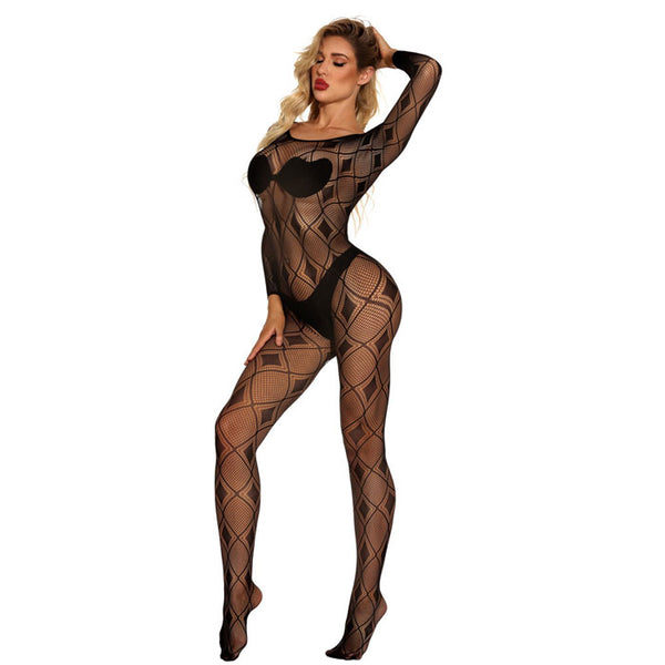 Sexy Hollow Open Crotch Skinny Striped Siamese Stockings Long Sleeve Net Conjoined Lingerie