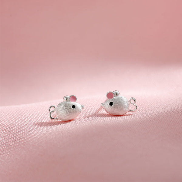 Lovely Mini Mouse Pink Ear Silver Earring Studs Animal Earrings