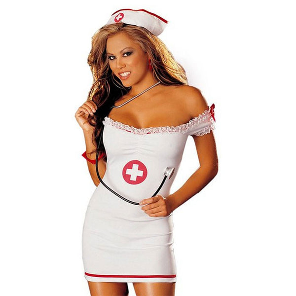 Sexy Lady Nurse Costumes Nightdress Nurse Strapless Dress Cosplay Lingerie