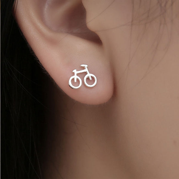 Lovely Mini Bike Hollow Bicycle Lady Silver Earring Studs