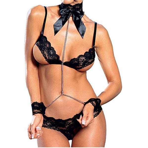 Sexy Bra Set Temptation Female Prisoner Cosplay Lace Perspective Intimate Lingerie