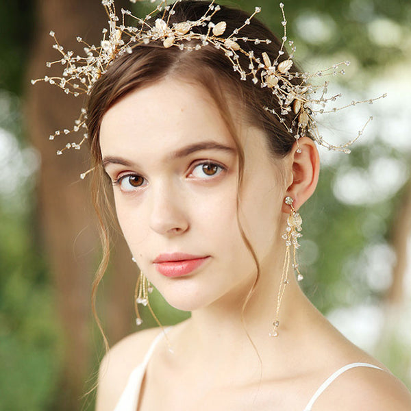Fresh Handmade Shell Leaves Crystal Wedding Hair Band Hair Accessories