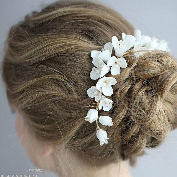 Fresh Bridal Hairpin Flower Ceramic Hair Comb Wedding Girls Hair Accessories