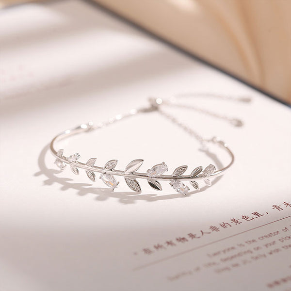 Lovely Crystal Diamond Branch Leaves Bangle Silver Romantic Women Bracelet