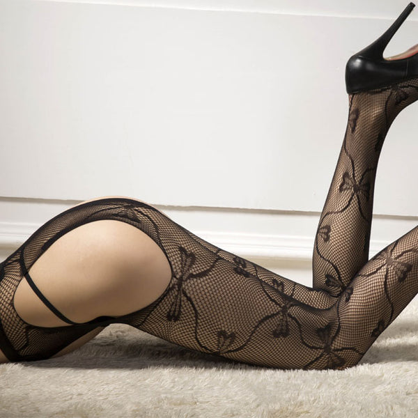 Sexy Jacquard Vine Fishnet Flower Bow Women Stockings