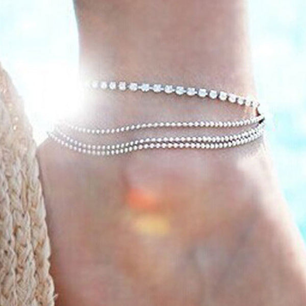 Fashion Sexy 3 Layer Stretch Rhinestone Anklet Barefoot Bracelet