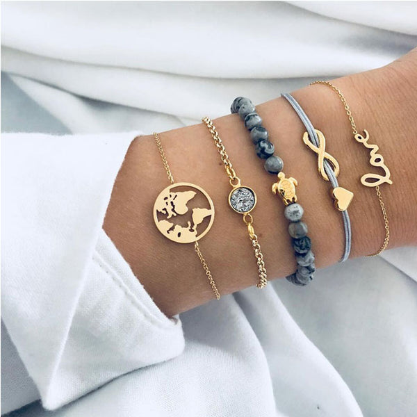 Cool Multi-layer Map Unlimited Turtle Love Five Set Bracelet