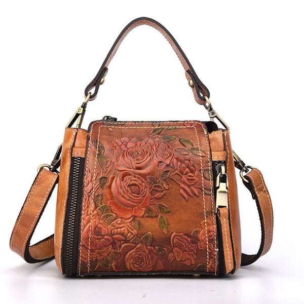 Retro Flower Embossed Crossbody Bag Handbag Real Leather Rose Handmade Shoulder Bag