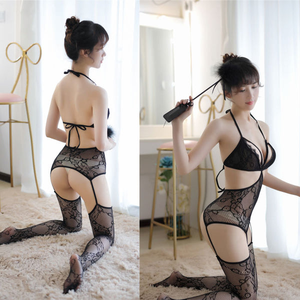 Sexy Spicy Fishnet Hollow Temptation One-piece Pajamas Open Stockings Black Teenage Tight Lingerie
