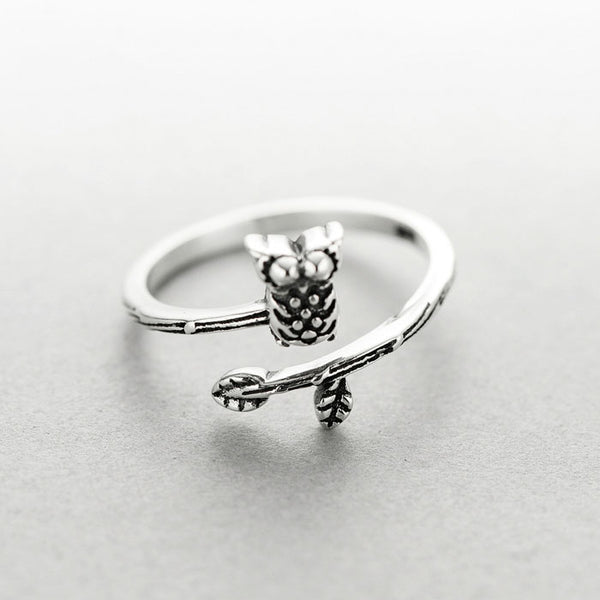 Unique Ethnic Style Thai Silver Owl Ring Art Branch Open Ring