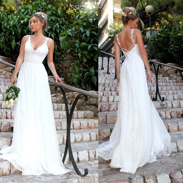 Fashion White Long Dress V-neck  Lace Sleeveless Party Bridesmaid Dress Wedding Dress
