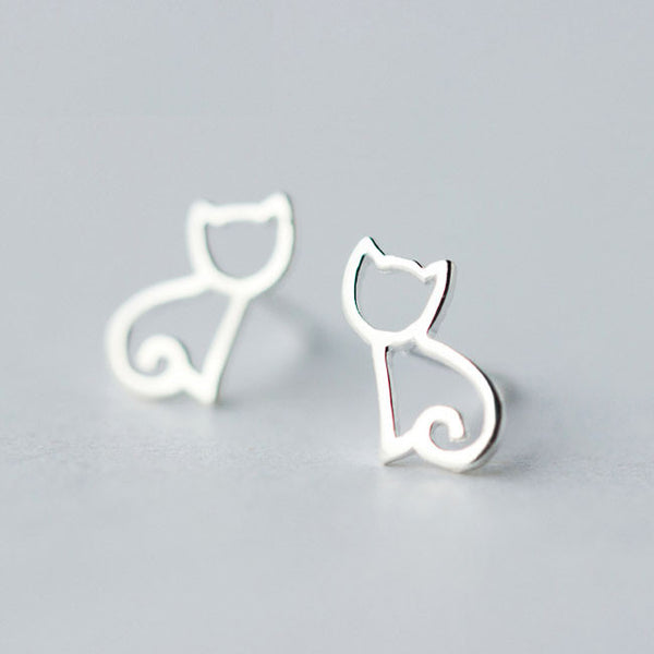 Cute Hollow Kitten Silver Animal  Cat Earring Studs